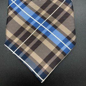 Nautica 100% Silk Tie Diagonal Lines Brown Blue